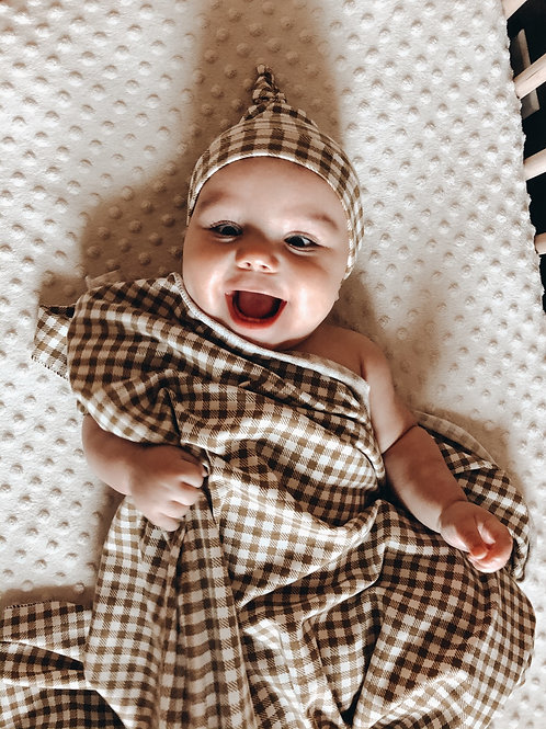 Gingham swaddle set (olive French terry)
