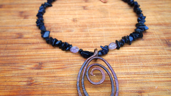 Abstract Swirls Amethyst Indigo Necklace