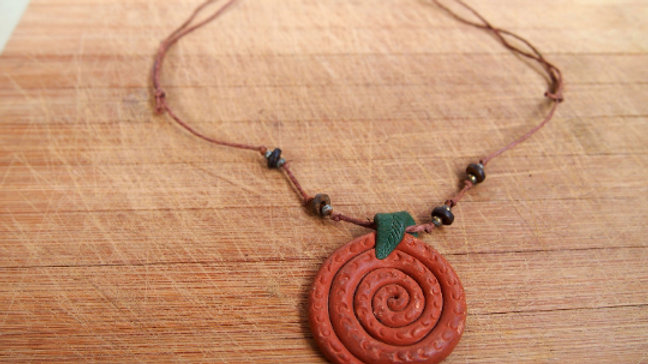 Textured Clay Spiral Leaf Necklace