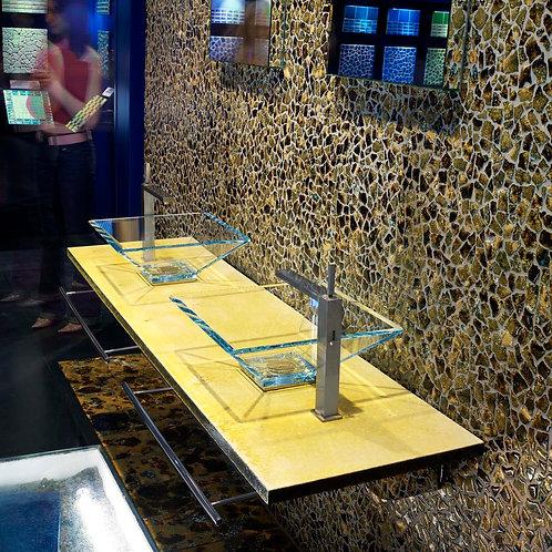 Top in pietra lavica Giallo profondità 50cm doppio lavabo