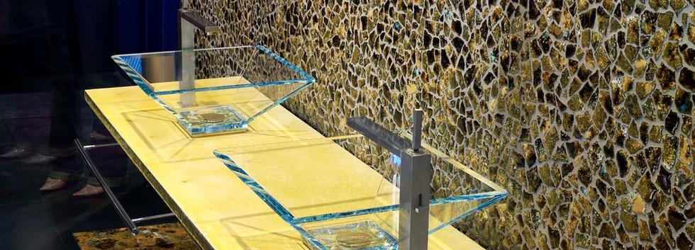 Piano in lava screziato giallo