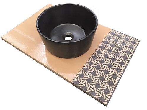 Piano per bagno in pietra lavica con lavabo
