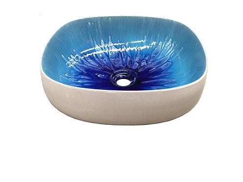 Lavabo Seed interno Canaletto Blu, Esterno bianco lucido