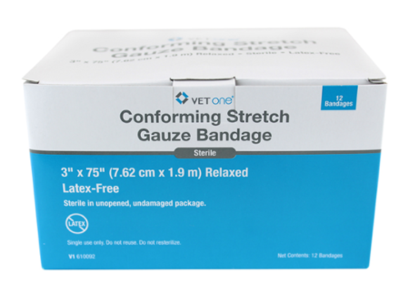 "Conforming Stretch Gauze, white, 3"" x 75"", 12 rolls"