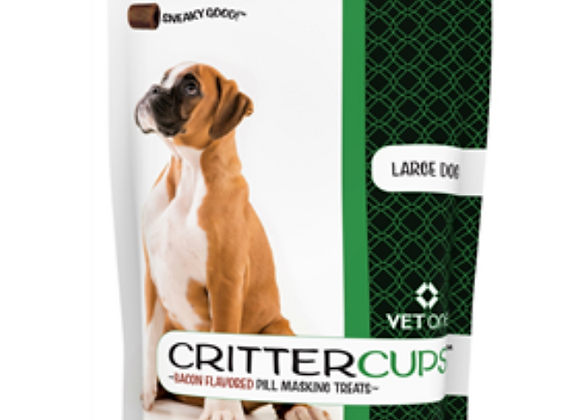 CritterCups Pill Masking Treats for Large Dogs, Bacon Flavor