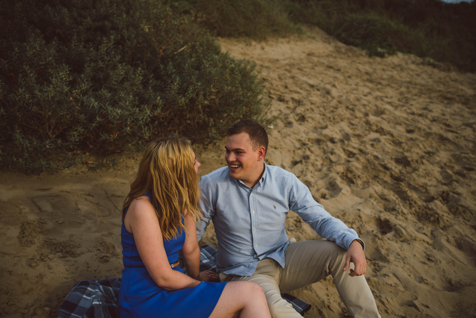 A romantic engagement shoot beside the sea with Corey and Claire