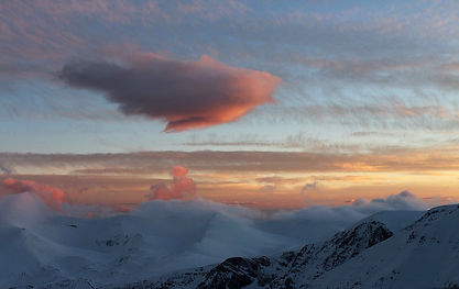 Clouds, sunrise, Mount Olympus, Greece, photo by Yulia Dotsenko.