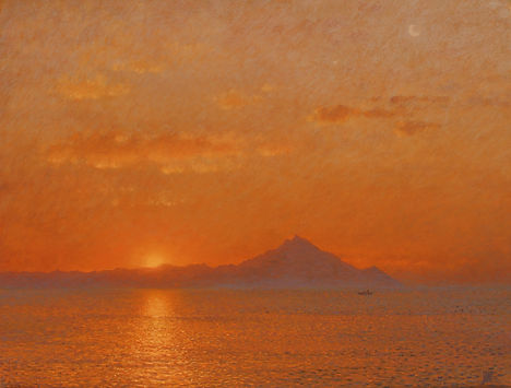 Mt Athos, by Yulia Dotsenko, 2014. Pastels on paper.