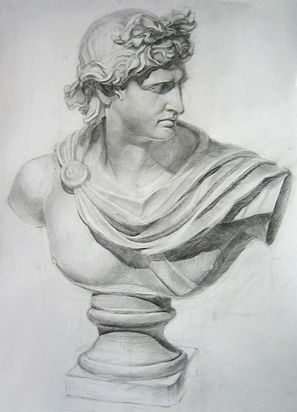 by Yulia Dotsenko,Apollo Belvedere,2008. Pencil drawing.
