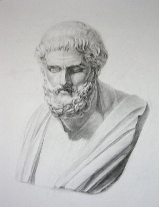 by Yulia Dotsenko, Sophocles, 2008.  Pencil drawing.