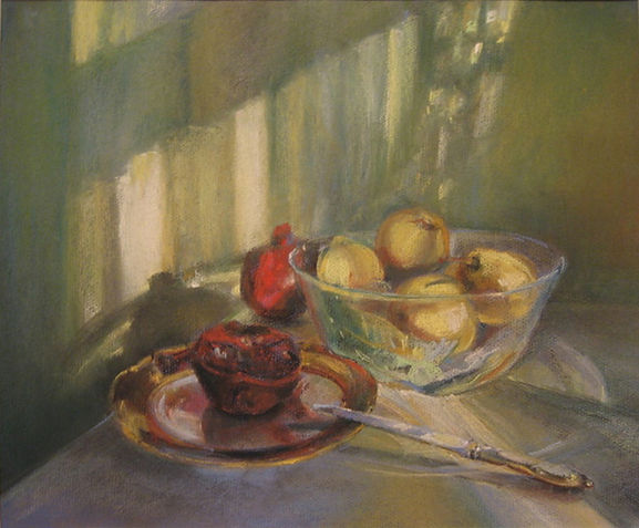 by Yulia Dotsenko, Still Life with a Pomegranate, 2008. Pastels on paper.