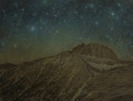 by Yulia Dotsenko, Starlight Night on Mt Olympus, 2014. Pastels on paper.