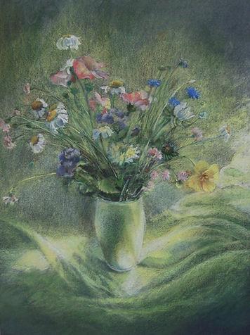 by Yulia Dotsenko, The Meadow Flowers, 2007. Pastels on paper.