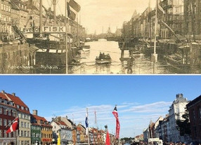 Nyhavn in 1916 and how it looks at a more recent date. It's a lively street full of restaurants