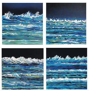 Pack of 4 square seascape themed blank greetings cards