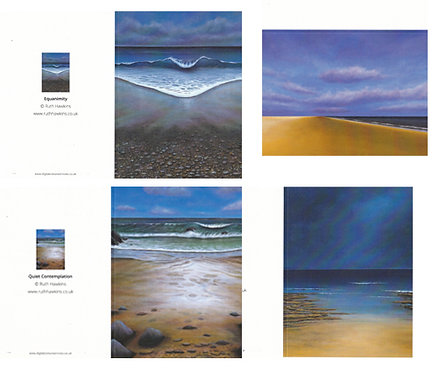 Pack of 4 Seascape Themed Blank A6 Greetings Cards