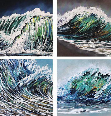 Pack of 4 square seascape themed greeting cardss