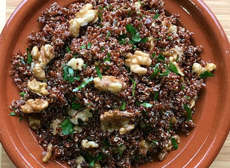 Red Quinoa with Walnuts and Preserved Lemon