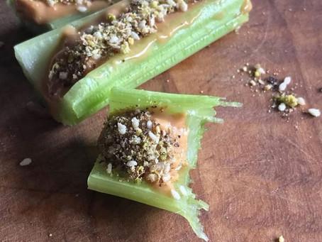 Celery Nut Butter Snack with Dukkha