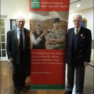 (L) Brigadier Bruce Jackman OBE MC, Gurka Welfare Trust (R) Brigadier Christopher Price CBE, Branch Chairman.