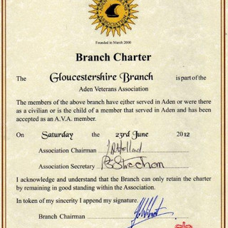 Branch Charter Certificate