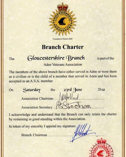 Branch Charter Certificate