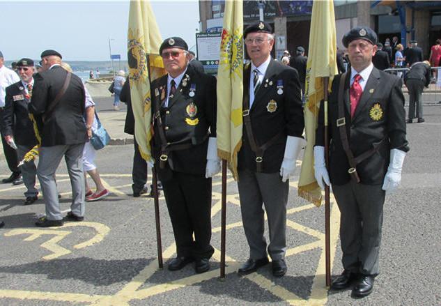 Our Standard Bearers; (LtoR) Dennis Flamson, SW Branch, John Longhurst, Glos Branch and Robert Parrant, Kernow Branch