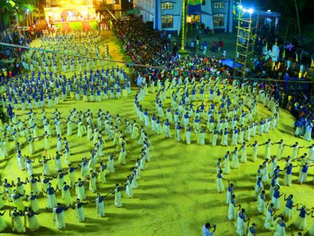 തിരുനാൾ കൊടിയേറ്റ്: വിസ്മയമായി 1002 സ്ത്രീകള് അണിനിരന്ന തിരുവാതിര