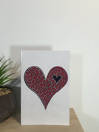 Red Shattered Heart Card