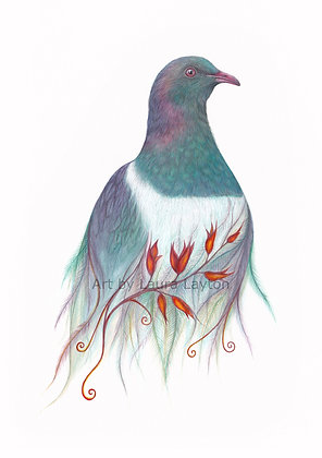 Kereru and Flax