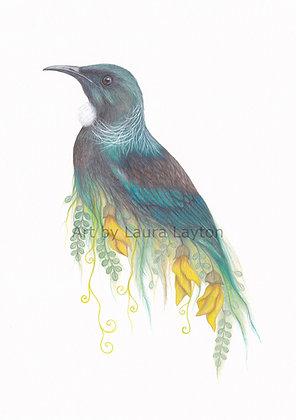 Tui and Kowhai - Art Print