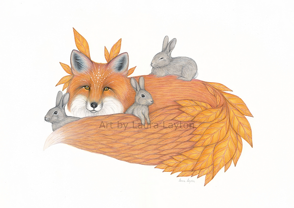 Fox and Rabbits - Art Print