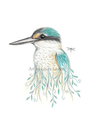 Kingfisher and Dragonfly - Art Print