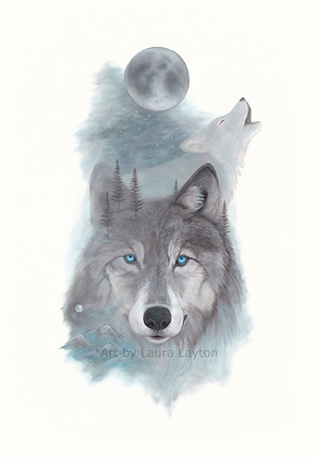 Blue Wolf - Art Print