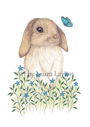 Bunny and Butterfly - Art Print