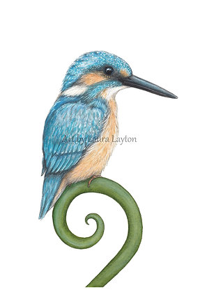 Kingfisher & Koru - Art Print