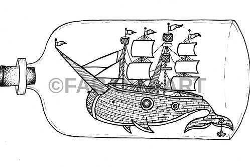 Narwhal Ship in a Bottle