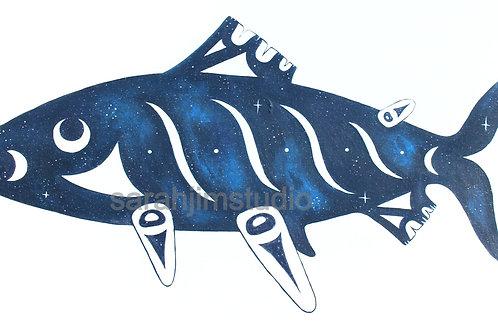 Cosmic Coast Salish Salmon