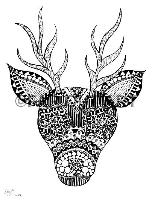 Patterned Deer Head