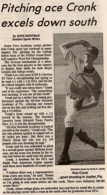 Rob Cronk, Rob Cronk Baseball,