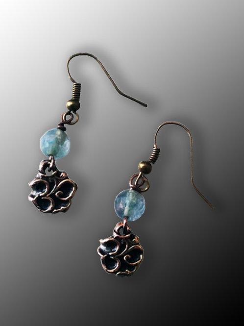 Bronze OM Earrings with Aquamarine