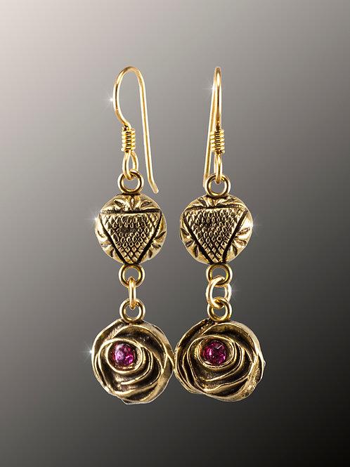 Damask Rose Bronze Earrings