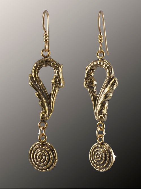 """Phoenix Rising"" Bronze Earrings"