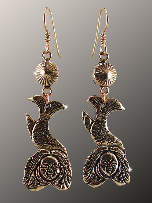 """Lunar Mermaids"" Bronze Earrings"