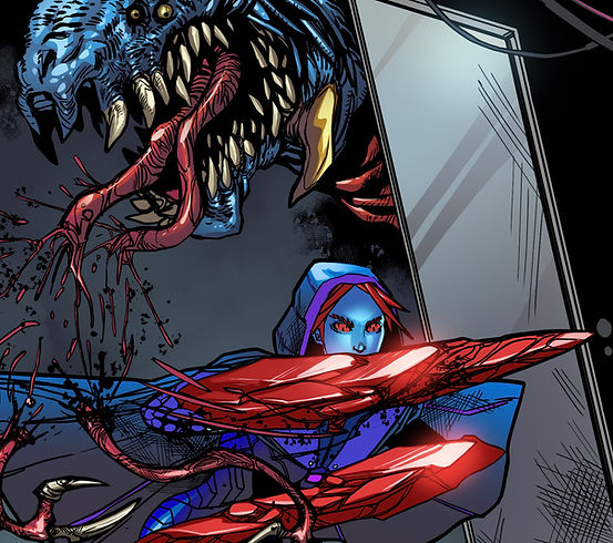 Chotic Flux - Zithara severing  a Dreadfiend's feeding tentacles as she runs through a doorway.