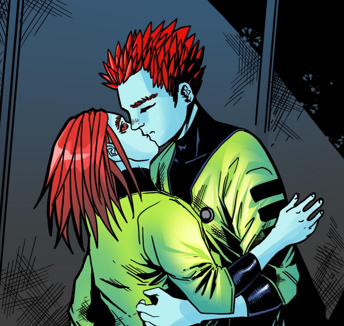 Their first kiss...