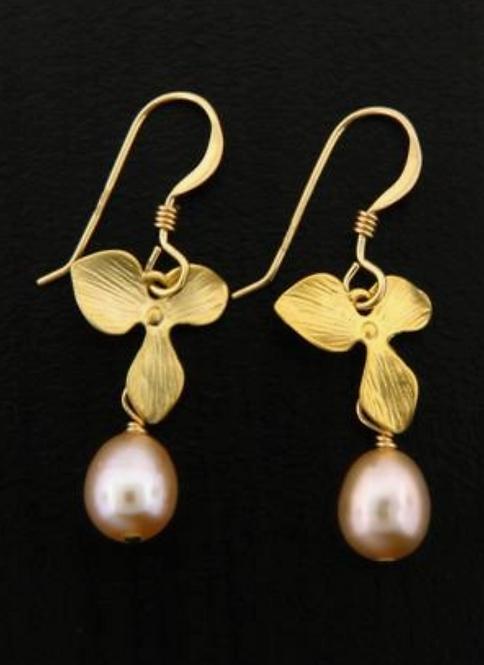 Pink Pearl Orchid Earrings