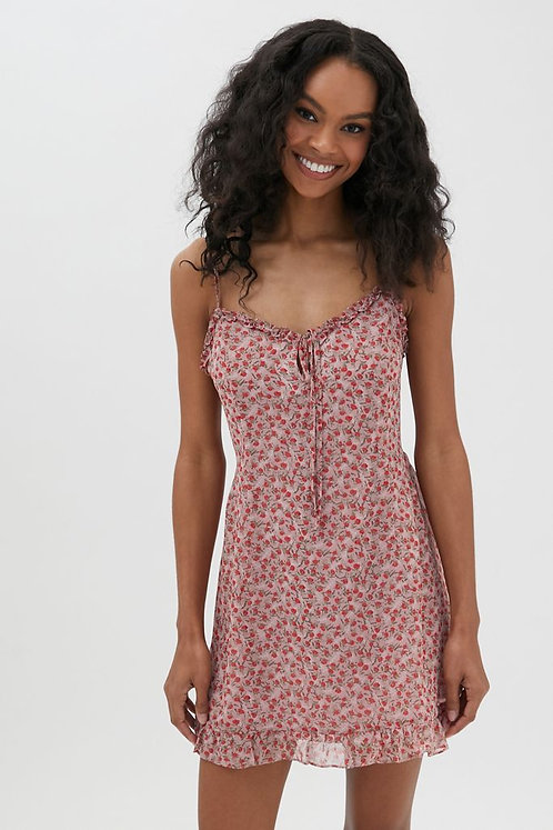 Rose Ruffled Mini Dress