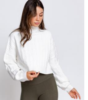 Crop Cable Turtleneck Sweater