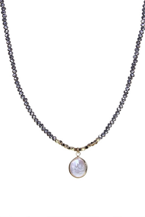 Crystal Strand Beaded Necklace w Pearl